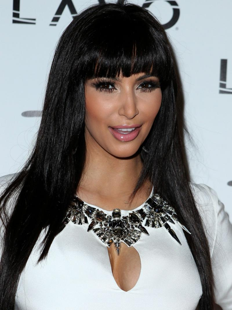 "Kim Kardashian Silky Straight Custom 16"" to 26"" Full Lace Human Hair Wig with Bangs"