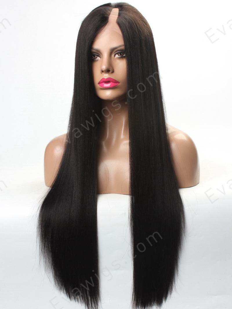 U-PART - Custom Long Straight Silky/Yaki U-part Full Lace Human Hair Wig