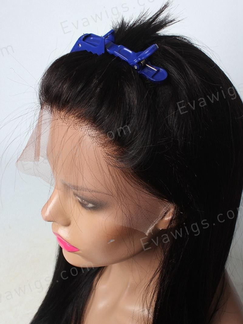 "16"" OFF BLACK SILKY STRAIGHT FULL LACE PETITE SIZE WIG WITH 5*5 SILK TOP"