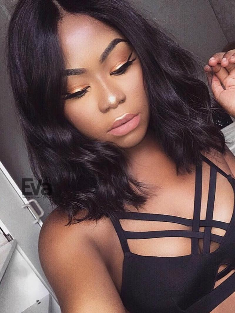 "Medium Length Fashion Wavy Lob 360 Lace Human Hair Wig/4"" Lace Front Wig"