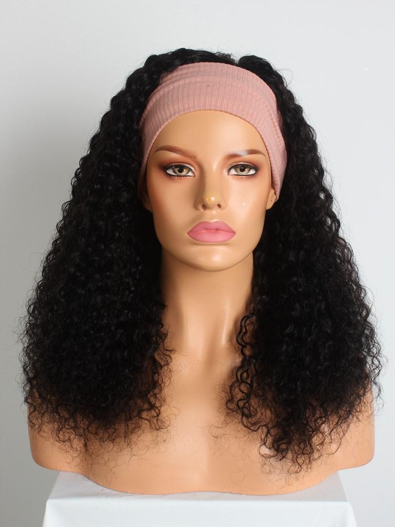 "New Arrival 8""-22"" Natural Black Curly Machine Made Headband Wig"