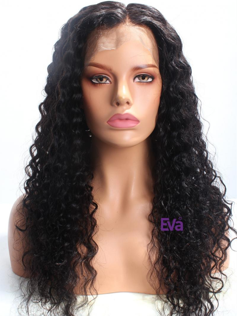 "20"" Natural Curly Indian Remy Hair Full Lace Wig"