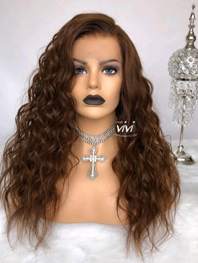 "18"" 150% MEDIUM REDDISH BROWN 360 LACE WIG"