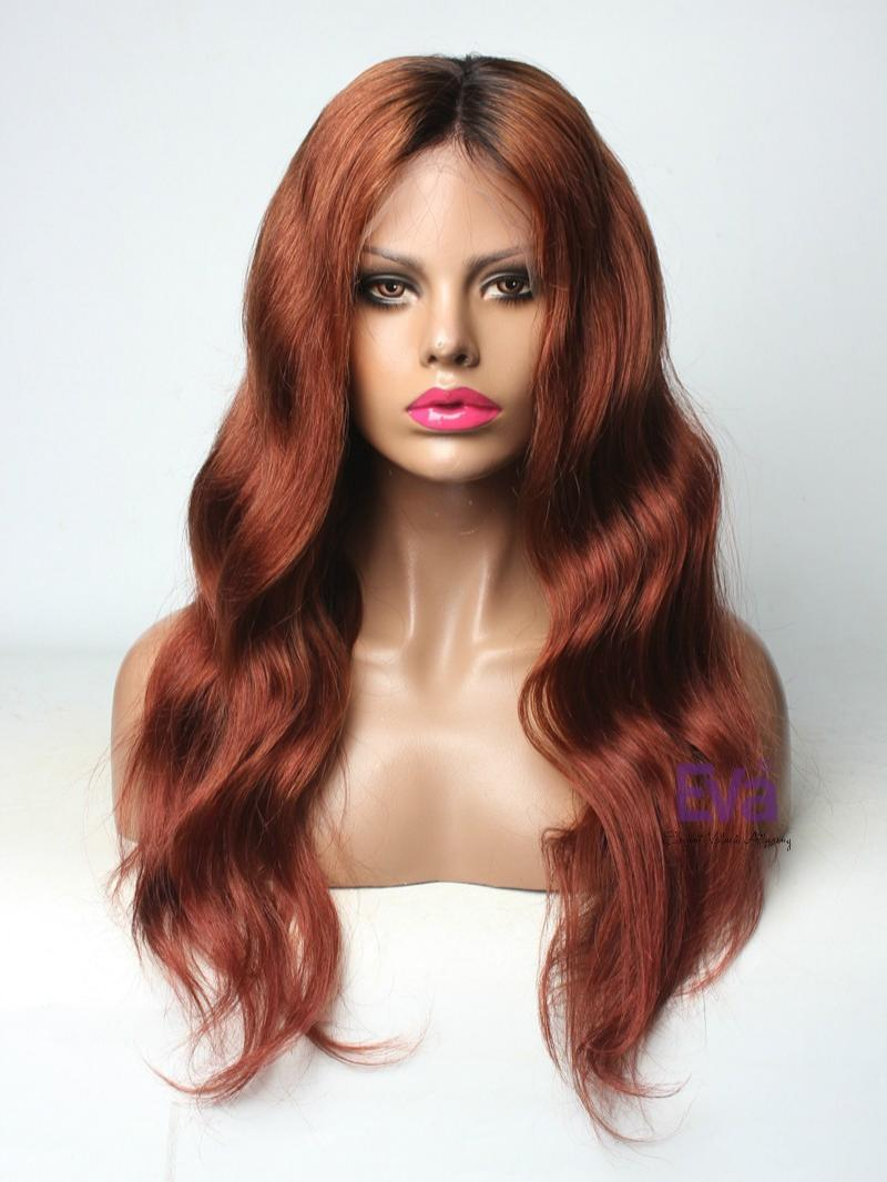 "Custom Color Reddish Brown Virgin Hair Full Lace Wig Length from 16"" to 26"" Available"
