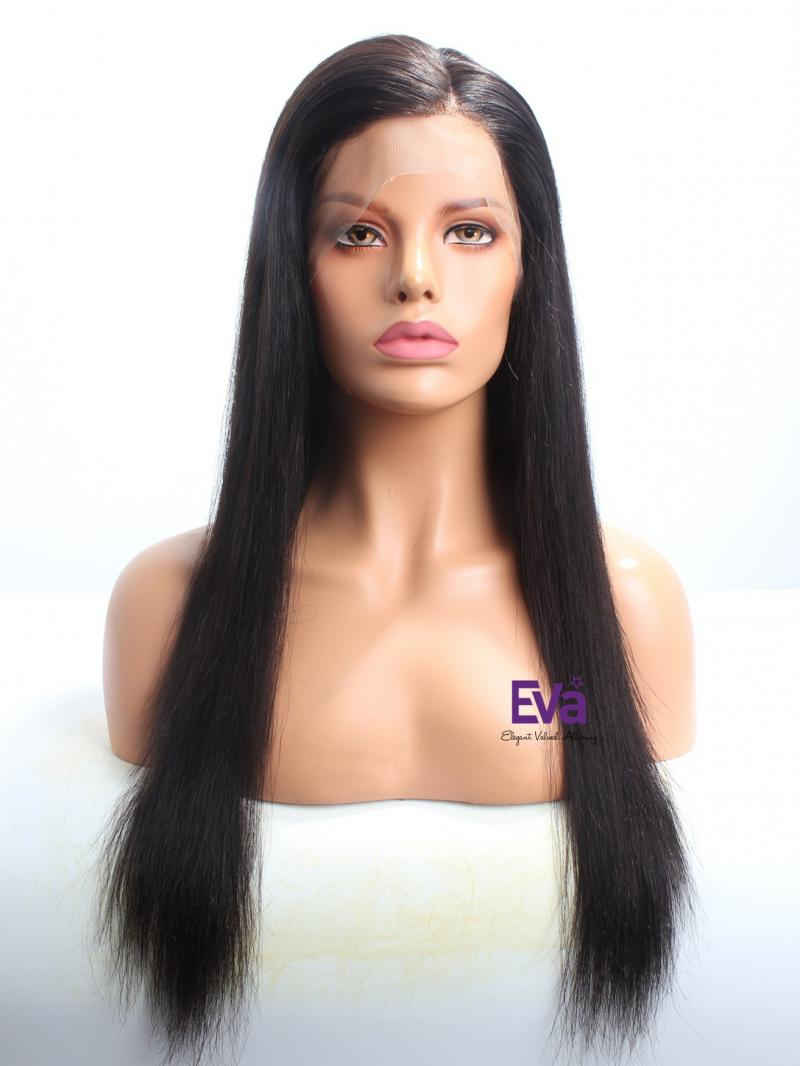 "Stocked Black 20"" Pre-plucked Hairline Straight Full Lace Human Hair Wig"