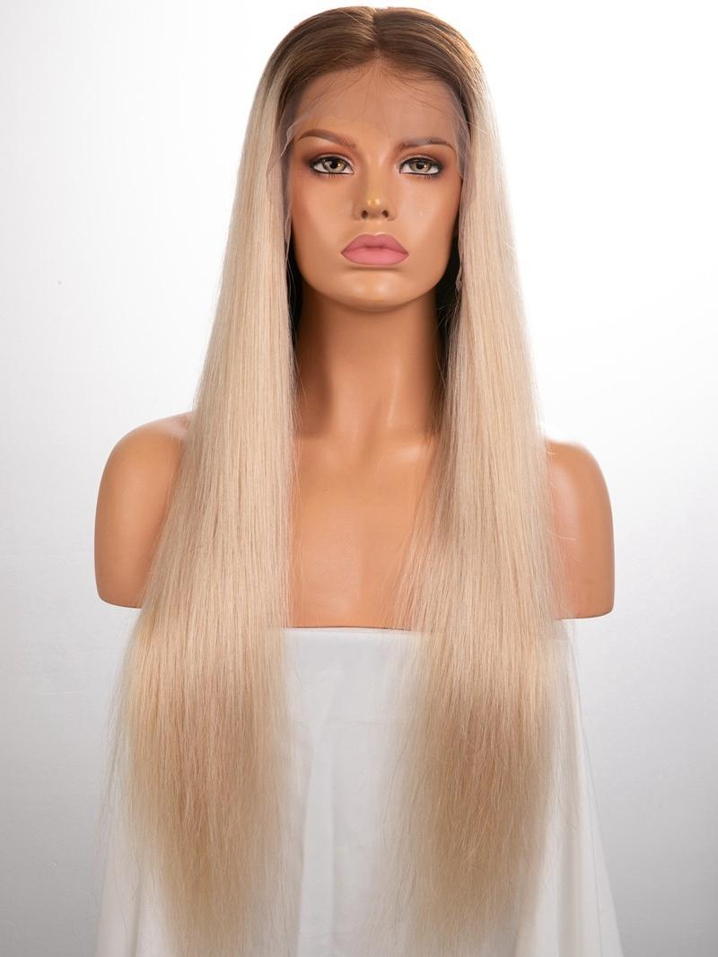 """24"""" 150% Custom Color Silky Straight Human Hair 4"""" Lace Front Wig"""