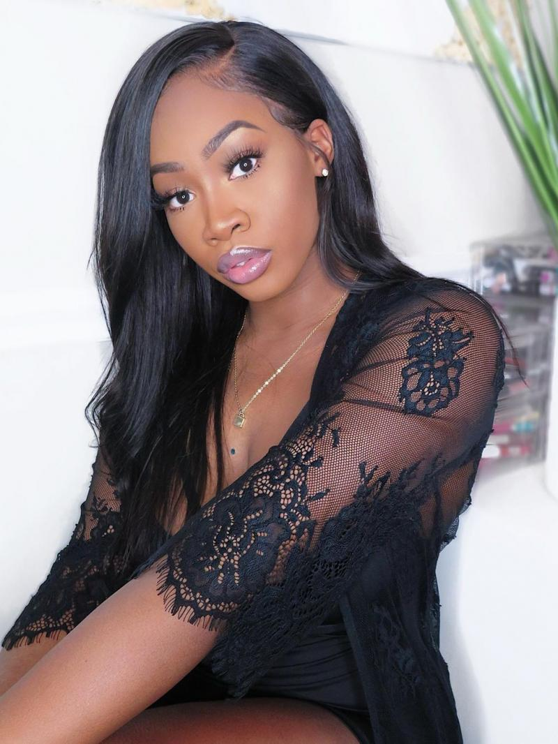 """Ready to Ship 16"""" - 20"""" Length Available 6"""" Parting Lace Front Glueless Human Hair Wig"""