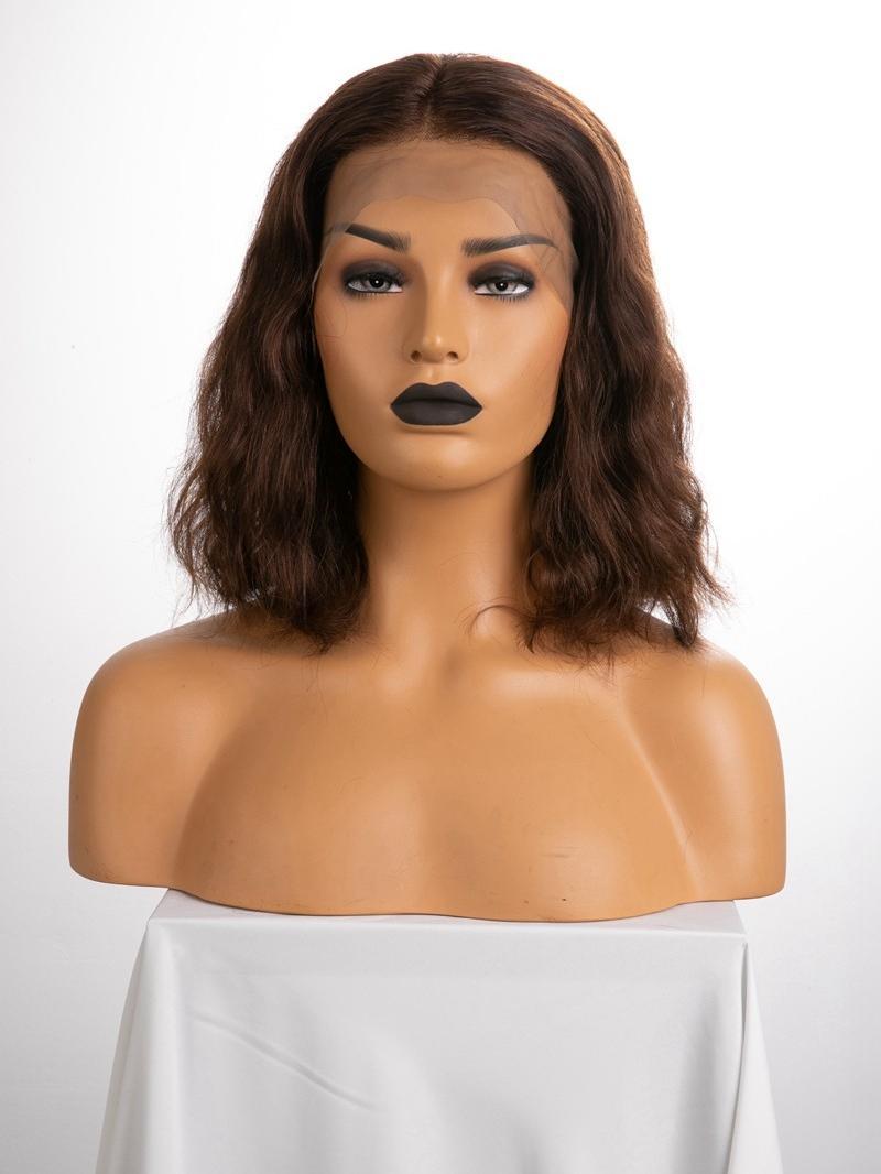"12"" 150% Medium Dark Brown Wavy Human Hair 3"" Lace Front Wig"