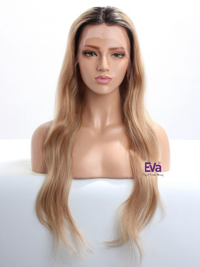 "Custom Color Highlight Hair Color with Dark Root Long Wavy Human Hair Wig 16"" - 26"" Available"