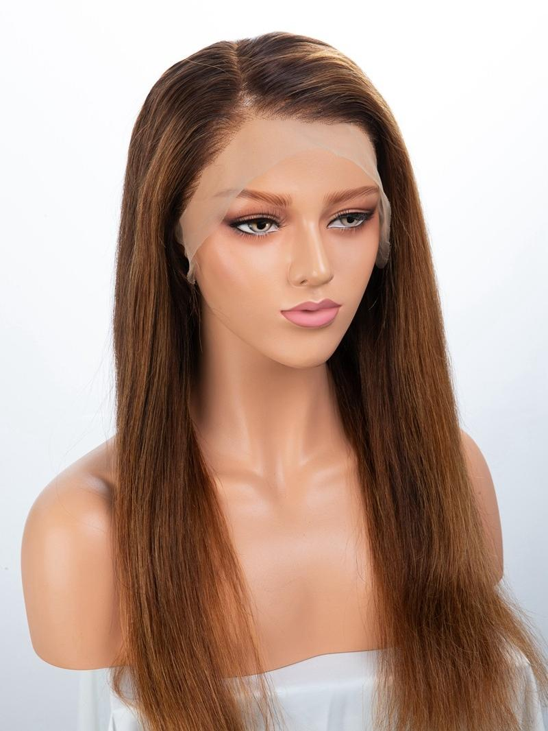 "24"" CUSTOMIZED COLOR 150% DENSITY WAVY FULL LACE WIG WITH PETITE SIZE"