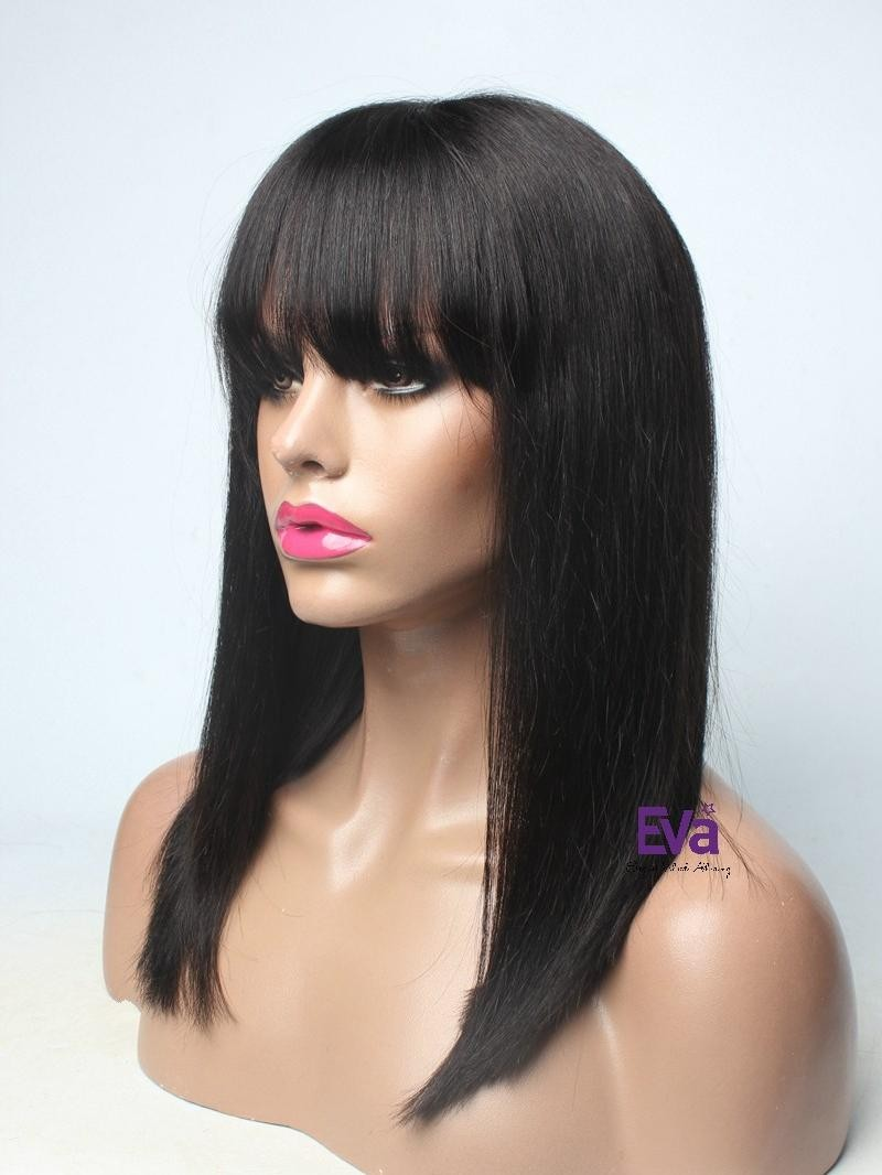 "16"" JET BLACK YAKI FULL LACE WIG WITH BANGS"