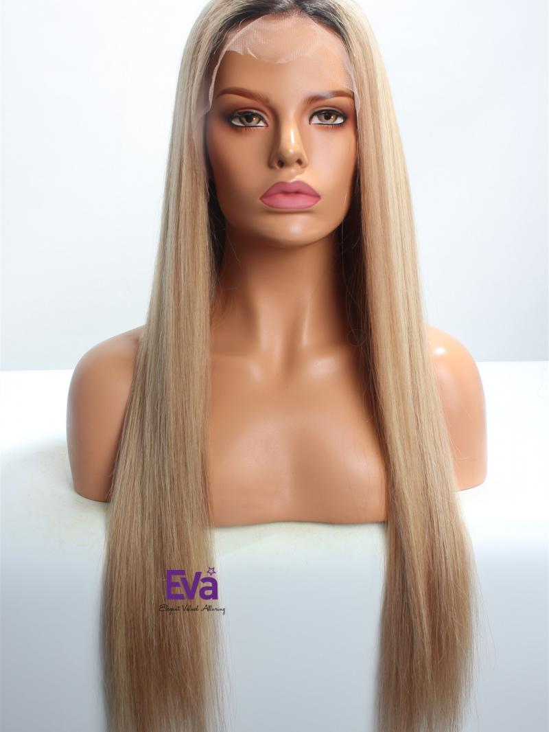 "24"" Custom Color Silky Straight Indian Remy Hair Lace Front Wig"