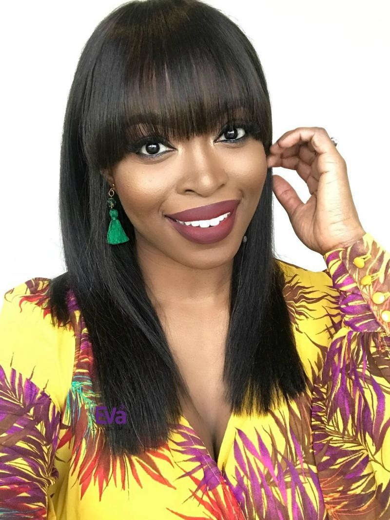 Full Lace Human Hair Straight Wig with Bangs
