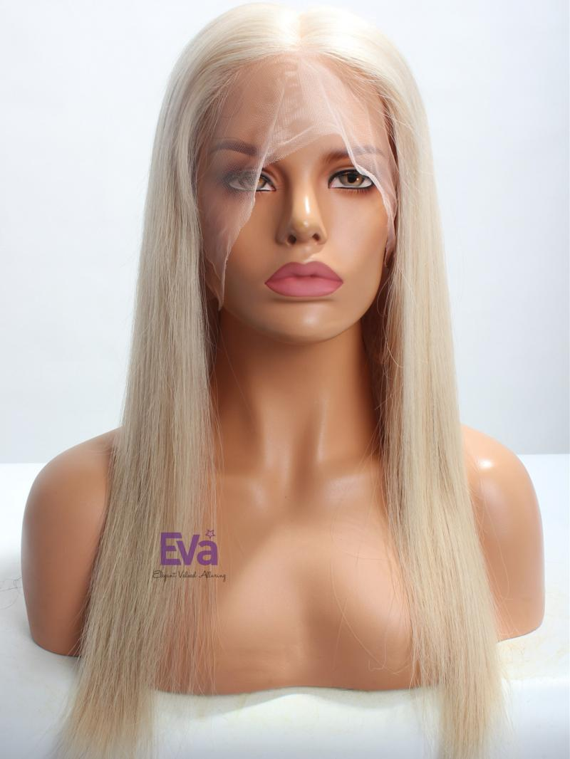"16"" Light Ash Blonde Silky Straight Virgin Hair Full Lace Wig"