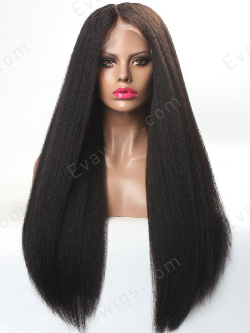 "16"" - 26"" Custom Color Length Density Kinky Straight Natural Full Lace Human Hair Wig"