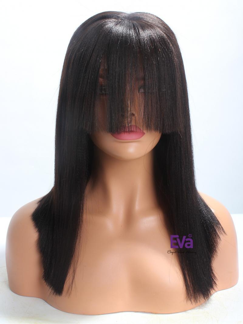 "16"" Medium Length Yaki Straight Bob Cut Full Lace Wig With Bangs"
