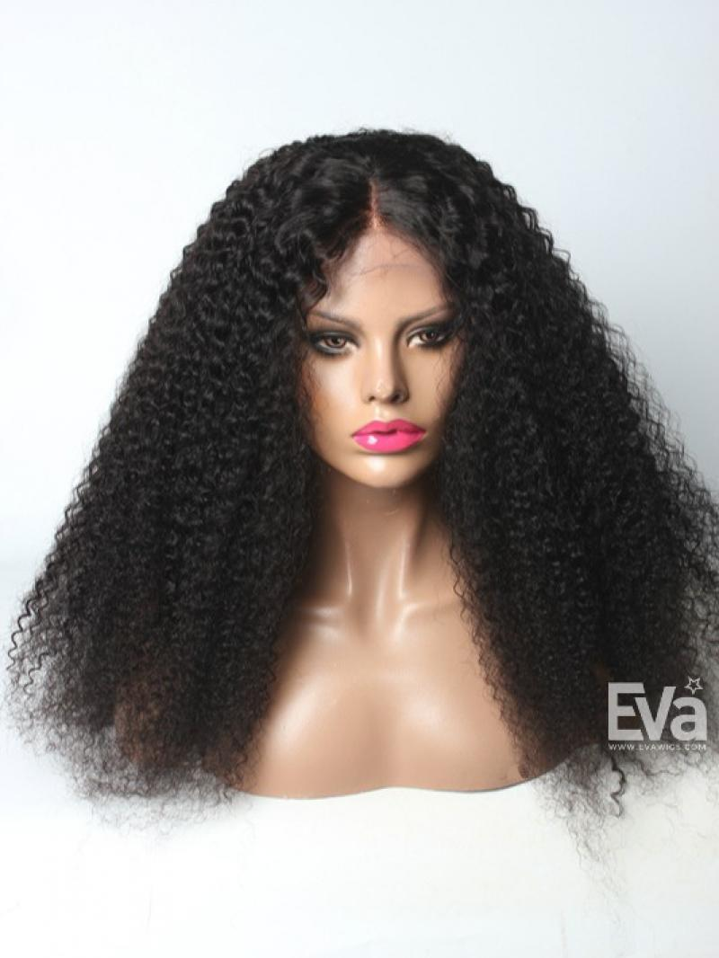 "24"" Natural Black Curly Long Big Hair Full Lace Human Hair Wig"