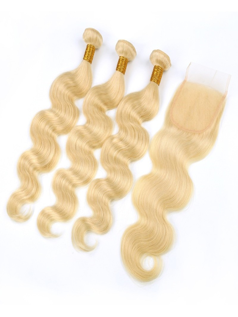 WAVE BLONDE #613 CLIP IN 100% HUMAN HAIR EXTENSION MULTI-TIME DYEABLE