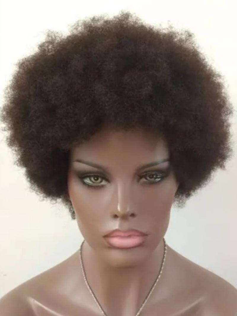 Machine Made Glueless Lace Cap Afro Human Hair Wig