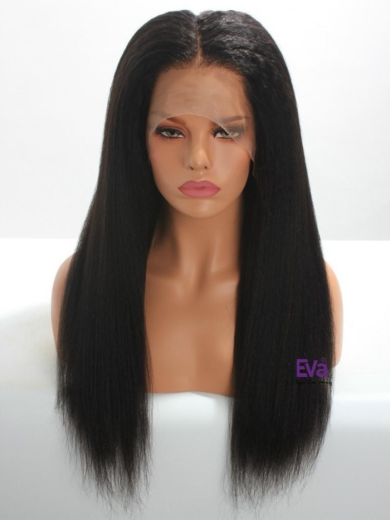 "18"" HD OFF BLACK KINKY STRAIGHT 6"" LACE FRONT LARGE SIZE WIG"