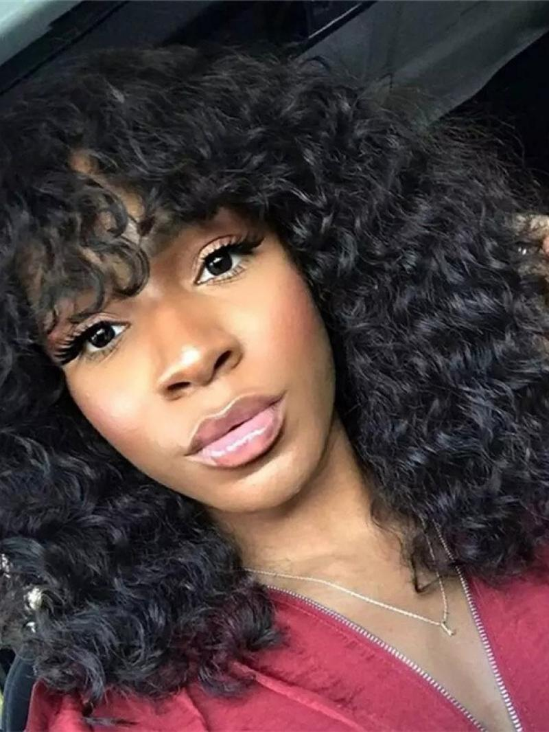 MACHINE MADE GLUELESS LACE CAP CURLY WITH BANGS HUMAN HAIR WIG