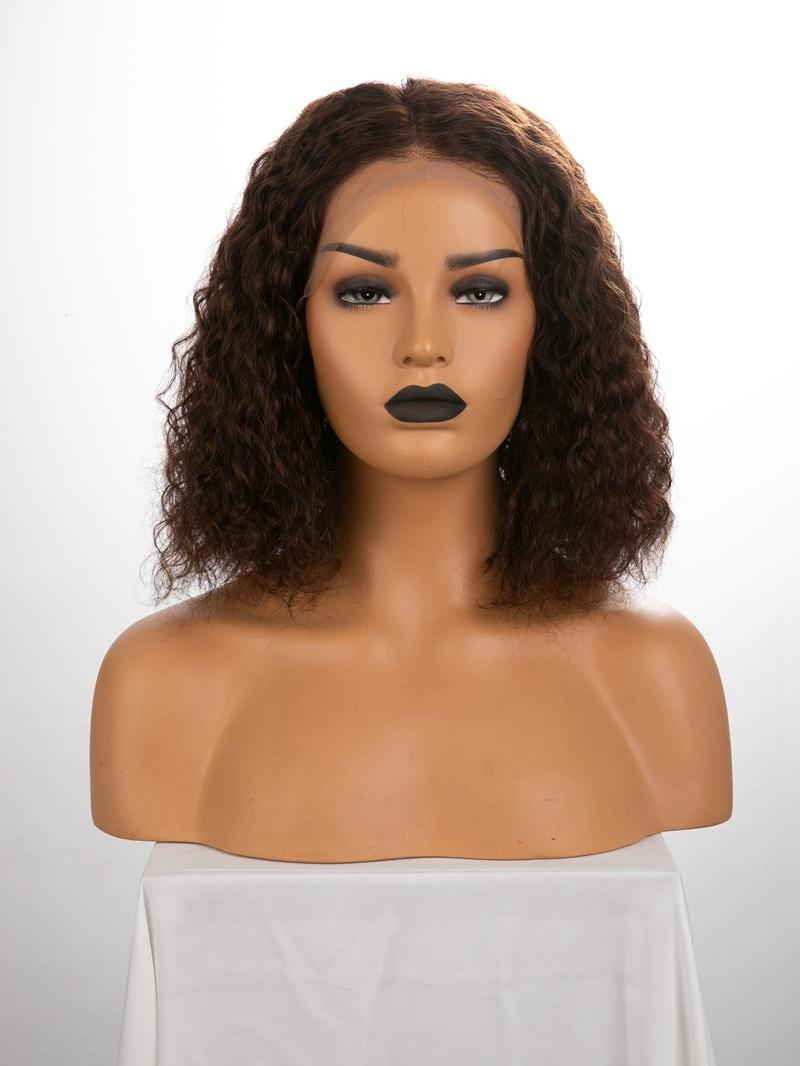 "12"" 150% Medium Dark Brown Curly Human Hair Full Lace Wig"