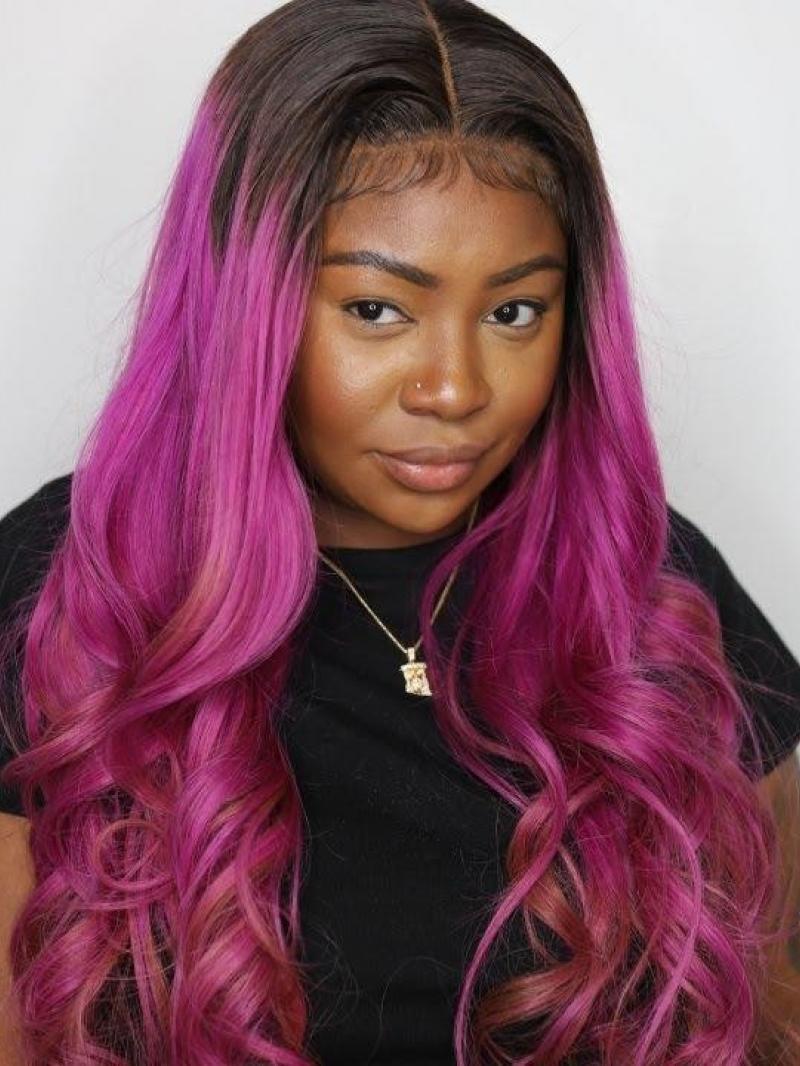 """Purple Hair With Darkest Brown Root Color Custom 16"""" - 24"""" Virgin Human Hair Wig"""