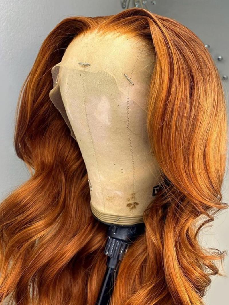 """CUSTOM COLOR AND LENGTH 16""""-26"""" AVAILABLE LIGHT COPPER RED COLOR HUMAN HAIR WIG"""