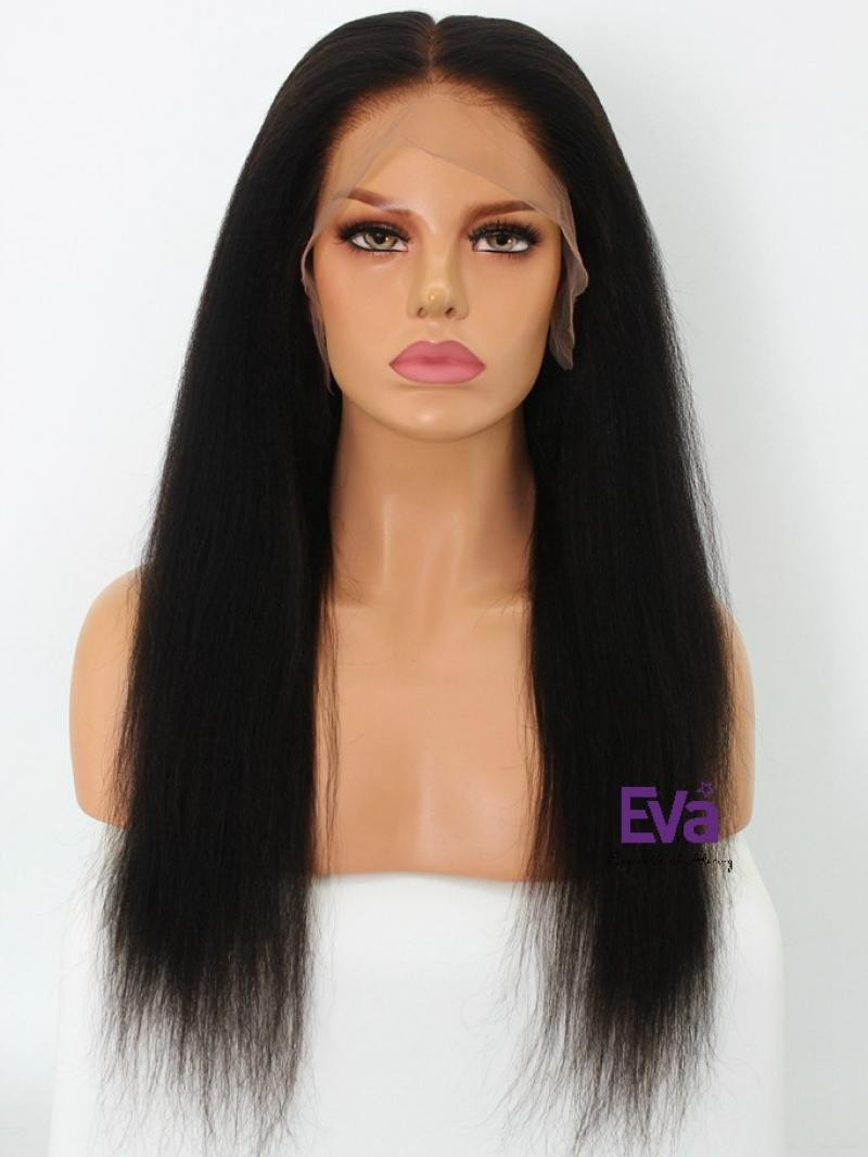 "18"" 150% Natural Black Kinky Straight Human Hair 6"" Lace Front Wig With Fake Scalp"