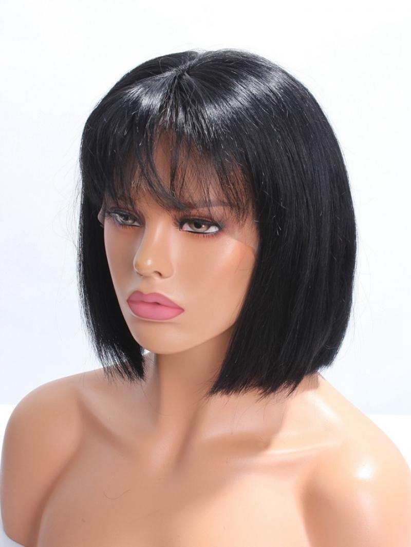 "Pretty Bangs Short Bob 4"" Lace Front Human Hair Wig"