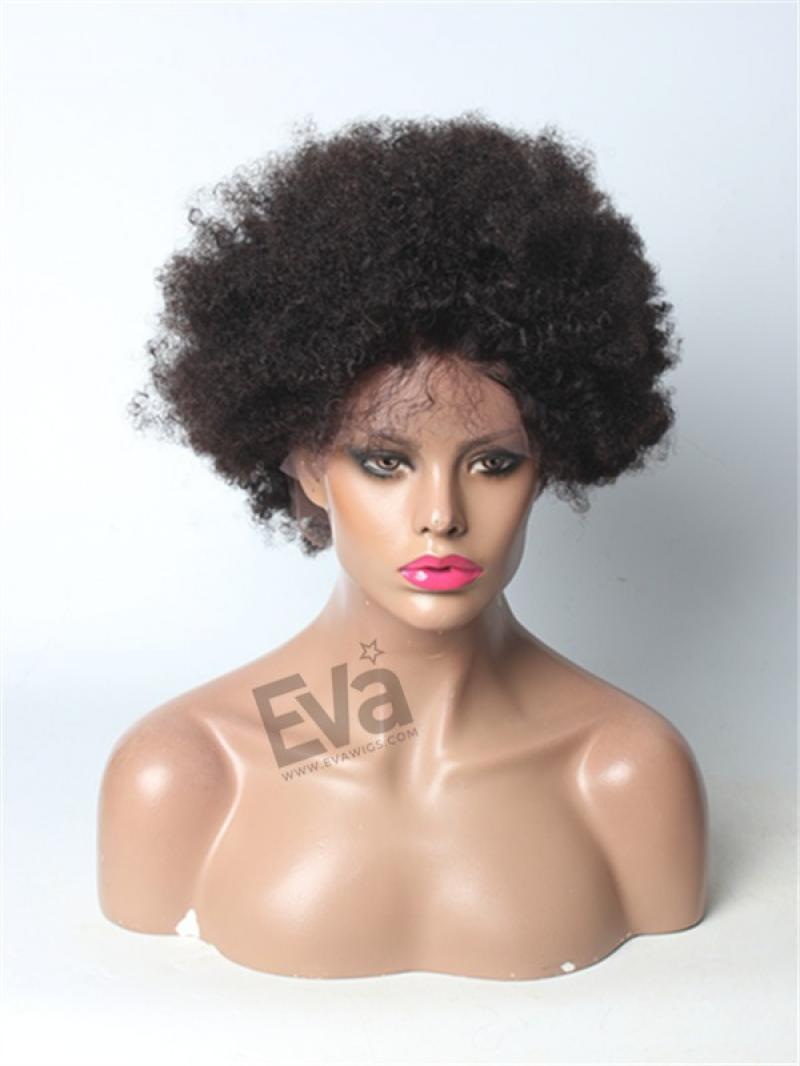 10 inches Afro Curly Custom Full Lace Human Hair Wig