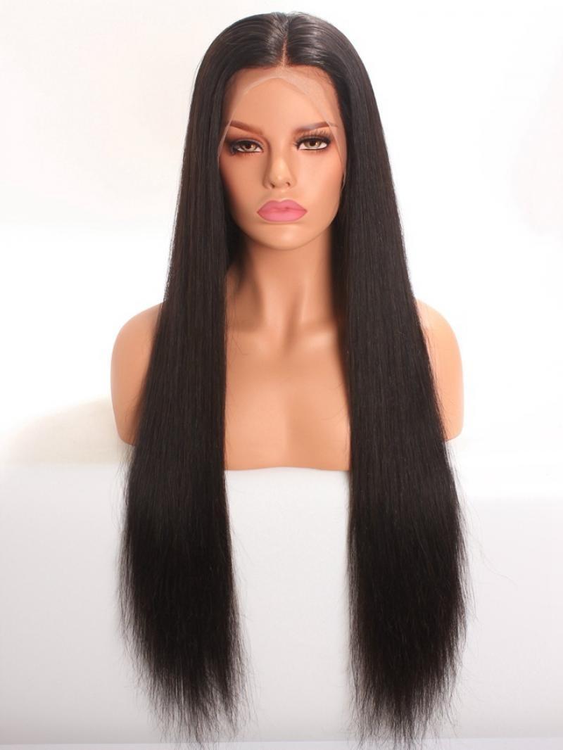 "26"" 150% Natural Black Silky Straight Human Hair Full Lace Wig"
