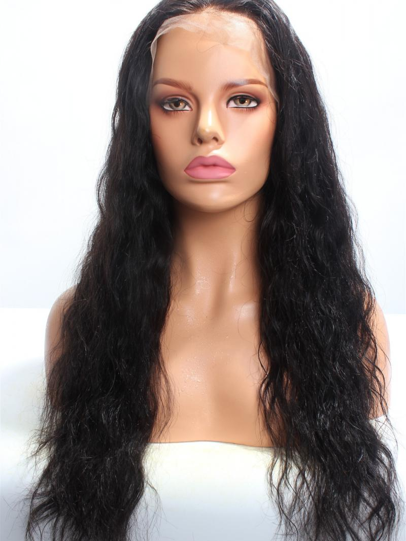 "22"" Long Loose Wavy Human Hair 3"" Lace Front Wig"