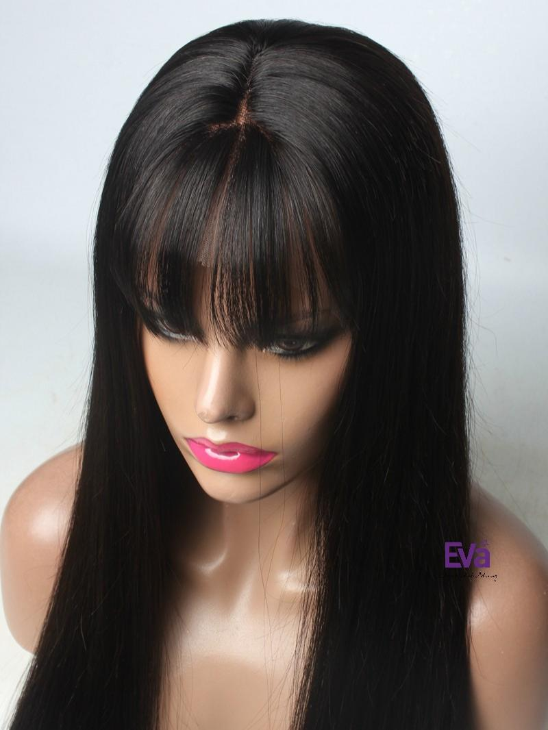See Through Bangs Silk Straight Lace Front Human Hair Wig