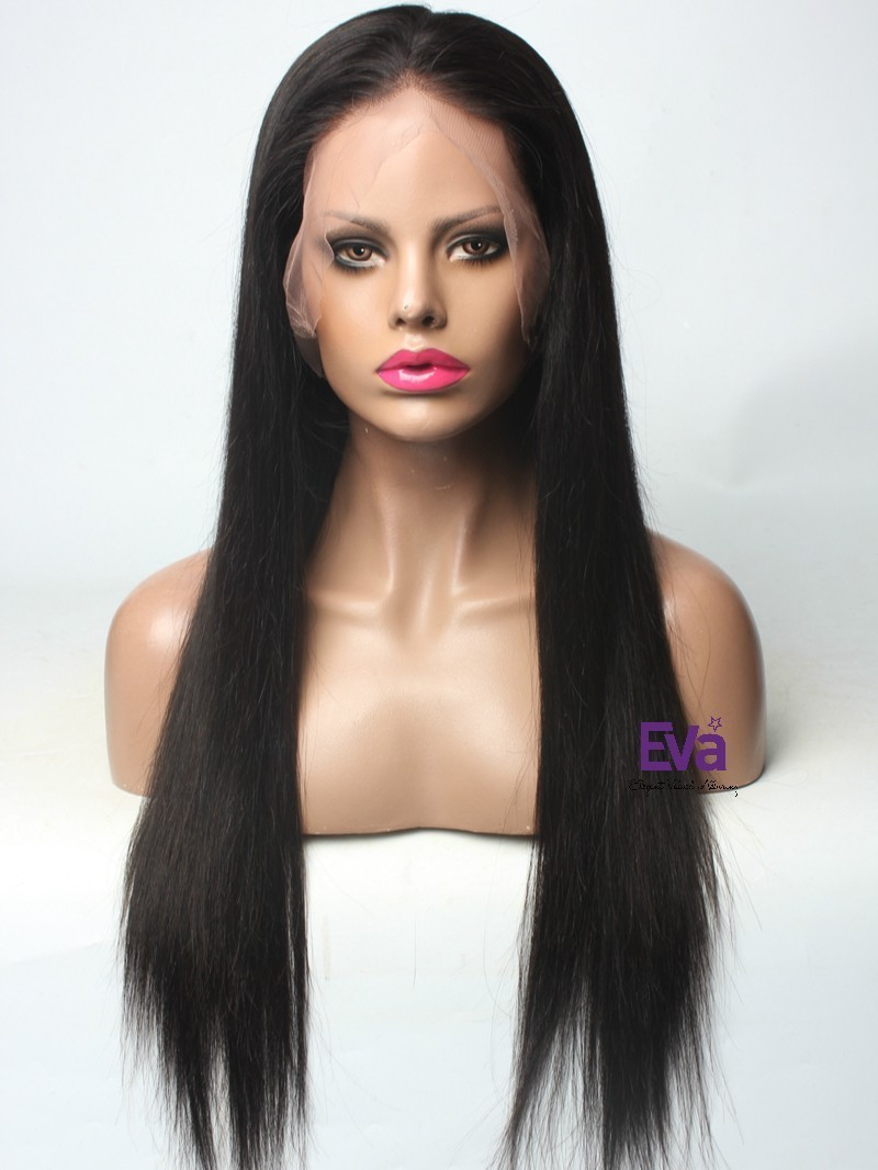"""26"""" NATURAL BLACK 130% DENSITY SILKY STRAIGHT FULL LACE WIG WITH FAKE SCALP"""