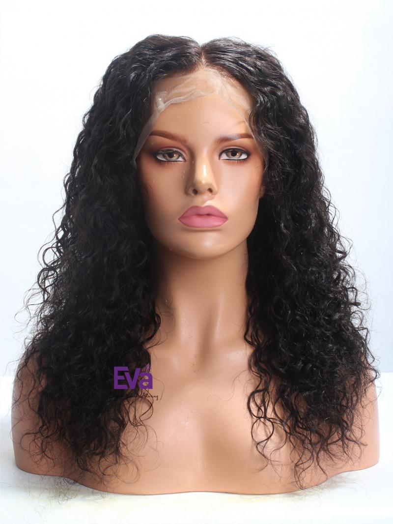 "16"" Natural Black Curly Hair With Glueless Full Lace Cap Wig"