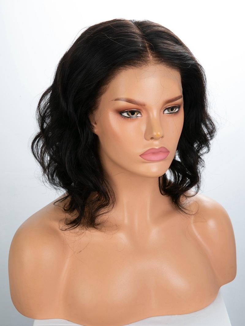 "10"" 150% Natural Black Wavy Human Hair HD 6"" Lace Front Wig With Petite Size"