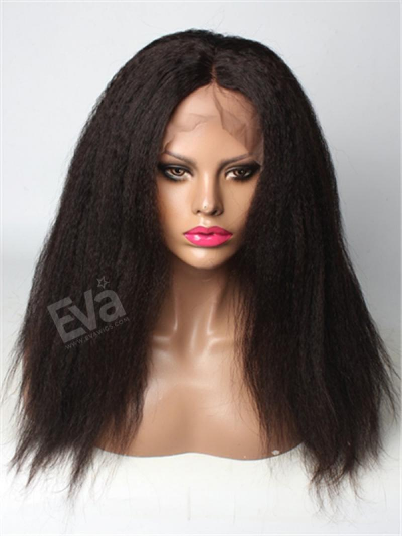 Kinky Straight 100% Brazilian Virgin Hair Lace Front Wig
