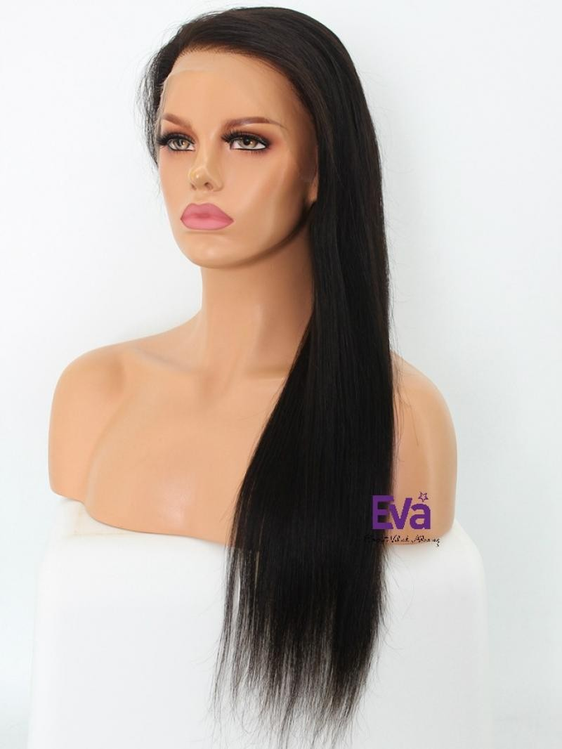 """20"""" NATURAL BLACK 150% DENSITY SILKY STRAIGHT HD FULL LACE WIG WITH FAKE SCALP"""