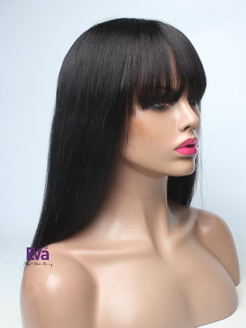 "14"" 130% OFF BLACK SILKY STRAIGHT FULL LACE WIG WITH FAKE SCALP AND BANGS"