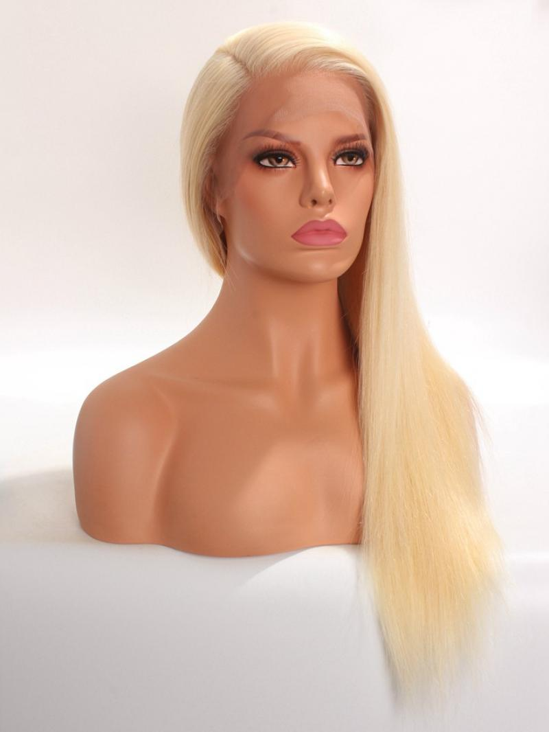 "CES209 20"" #613 Platinum Blonde 100% Virgin Human Hair Full Lace Wig"