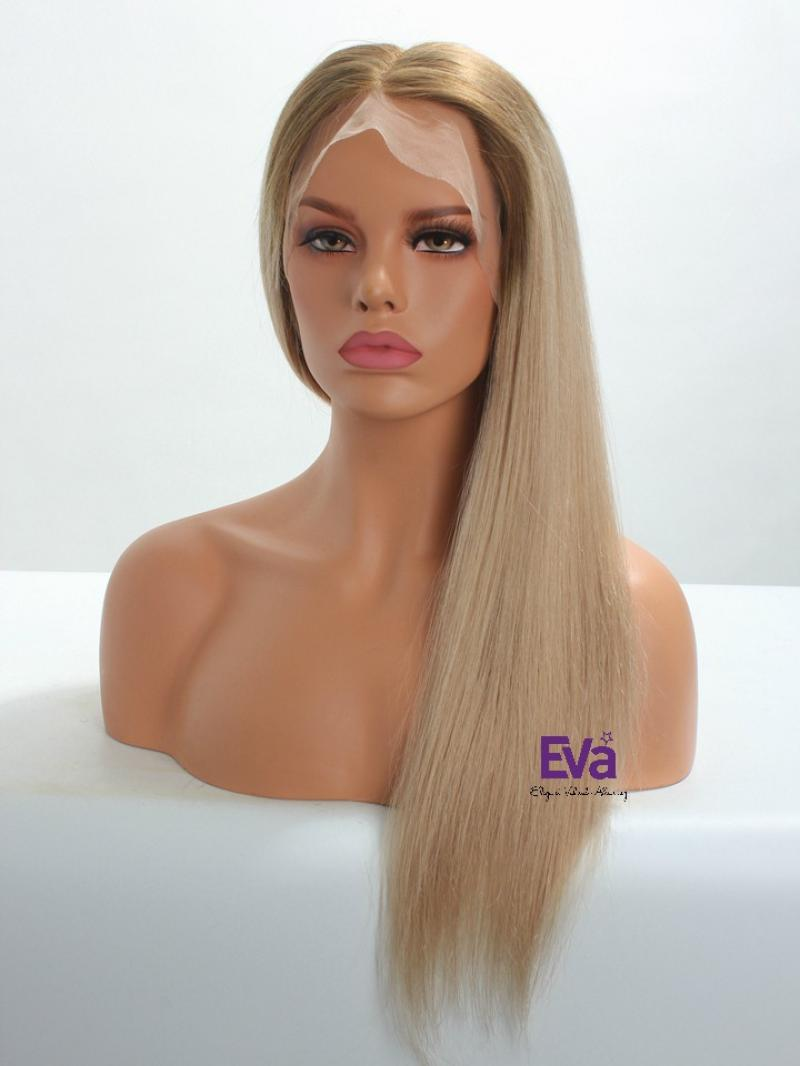 #6 T #101 Ombre Blonde Natural Full Lace 100% Virgin Human Hair Wig