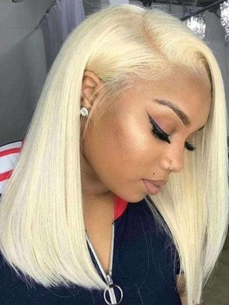 "16"" Straight & Hot Blonde Bob 4"" Lace Front Wig -- SK11833"