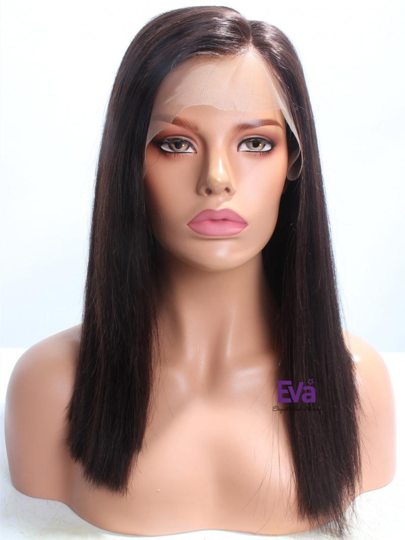 "16"" Darkest Brown Straight Lob Glueless Full Lace Wig"
