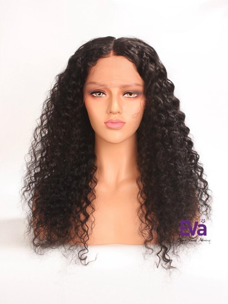 "20"" 180% Density Natural Black Curly 4"" Lace Parting Human Hair Wig"