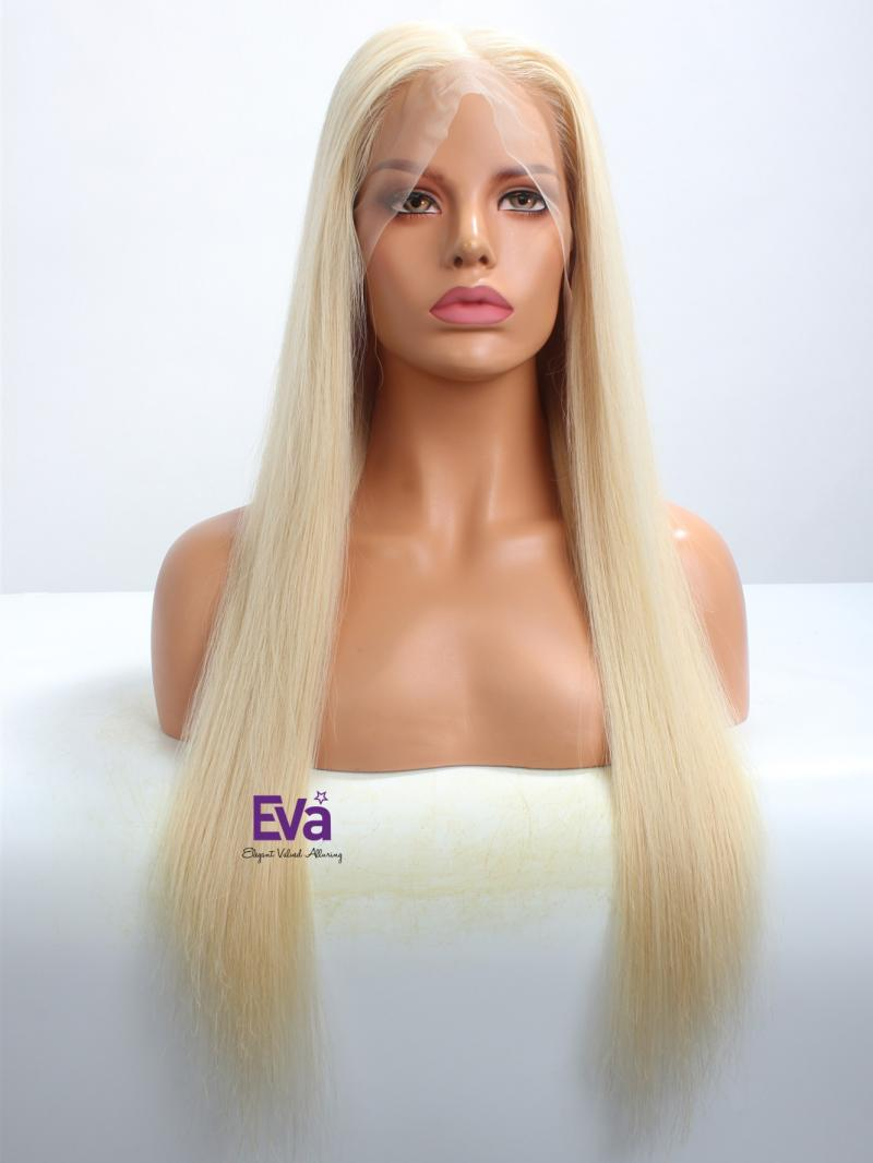 "Stocked 22"" Long Blonde Straight Glueless 6"" Deep Parting Lace Front Wig"
