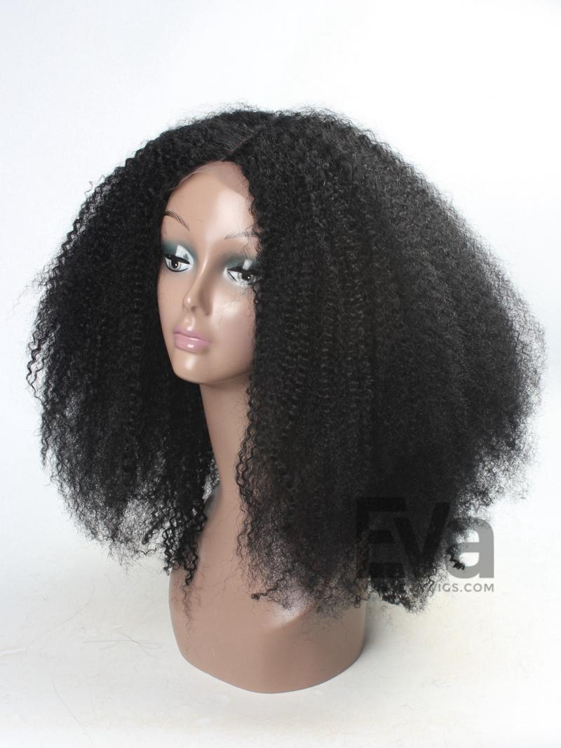 Gorgeous Jet Black Afro Curly Full Lace Human Hair Wig with Silk Top