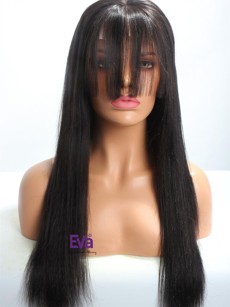 "20"" Long Black & Yaki Straight Full Lace Wig With Bangs"