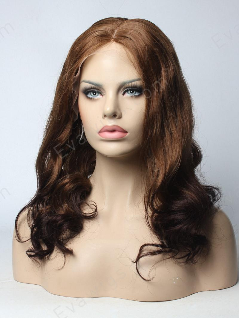 Gorgeous Silk Top Wavy Brazilian Virgin Hair Wig in Dark Root #6 T Color #2