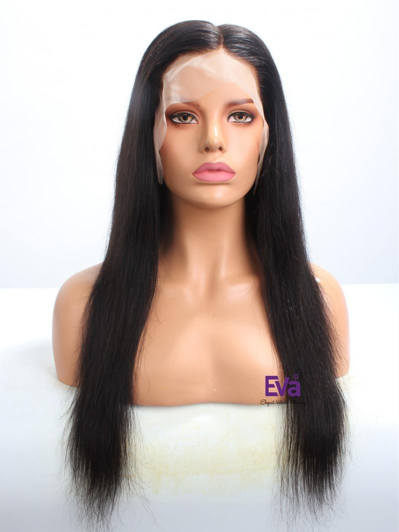 """Stocked 18"""" 180% Density Silky Straight 6"""" Parting Fake Scalp Wig"""